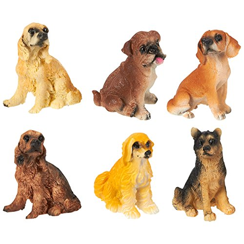 Cocker Spaniel Ornaments (Dog Figurines - Pack of 6 Small Dog Resin Figurines, Fairy Garden Accessories, Decor Ornaments Perfect for Children, Indoor and Outdoor Decor, Multicolor, 2 x 1.75 x 1 Inches.)