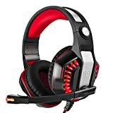 Sonlipo Gaming Headsets Stereo Bass Computer Headphones Upgrades LED Over-ear PC Headphones with Volume Control Built-in Noise Cancelling Mic for PSP PS4 Xbox Tablet Laptop PC Smartphones(Red+Black)