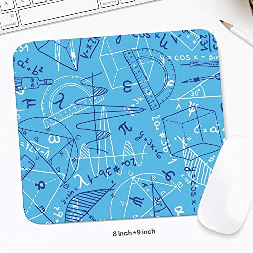 Black Custom Heometrical Figures Equations Blue Backdrop Cute Resistant to Dirt Pro Gaming Mouse Mats Office Desk Computer Accessories Laptop Mouse Pad 8 x 9