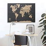 Mapa Del Mundo Negro En Corcho. ¡decora, Inspírate Y Viaja!