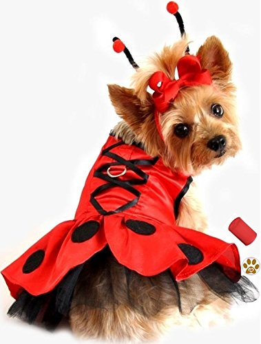 """Ladybug Fairy Antennae Dress Costume with Leash,baggies and Pin Accessory for Dog Sizes XS thru L (Large – Chest 19-21"""", Neck 16-19"""", Red/Black)"""