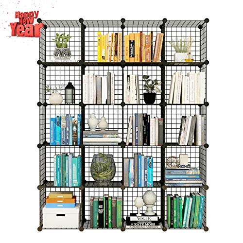 KOUSI Storage Cubes Wire Grid Modular Metal Cubbies Organizer Bookcases and Book Shelves Origami Multifunction Shelving Unit, Capacious & Customizable, Black, 20 Cubes