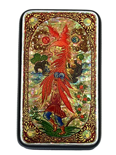 Kholui Russian Lacquer Box THE FIREBIRD - Painted over Mother of Pearl #4118