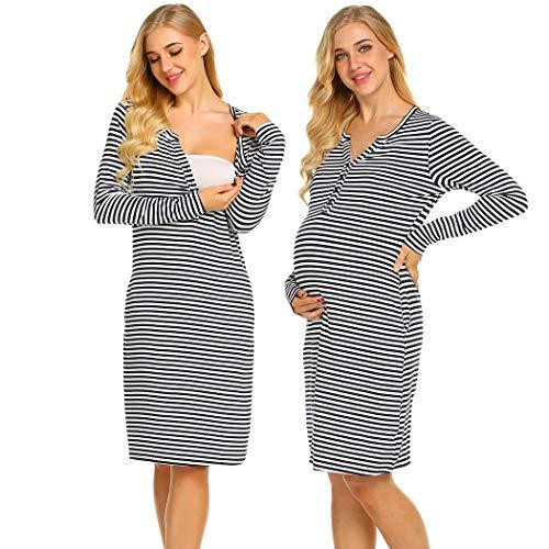 Ekouaer Women's Long Sleeve Maternity Hospital Gown Leisure Wear Pregnancy Dress (Navy Blue XL)