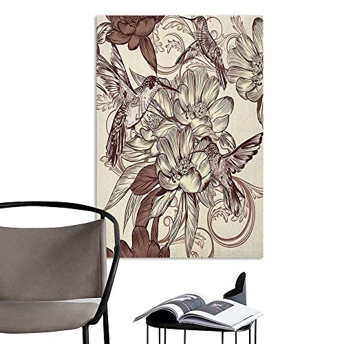 Alexandear Wall Mural Wallpaper Stickers Hummingbirds Pattern with Birds and Flowers Classic Style Ornamental Design Floral Print Ivory Brown Hall Fashion W20 x H28