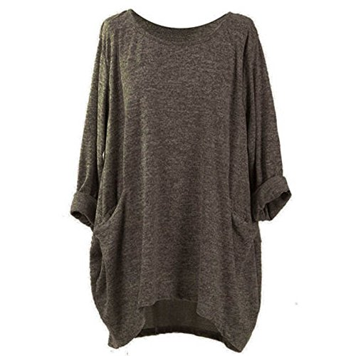 Connia T-Shirt Women Loose Casual Clothes, Fall Winter Plus Size Scoop Neck Pocket Daily Home Blouse Tops Pollover (XL, Coffee) from Connia