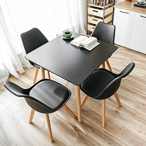 YEEFY Dining Chairs Modern Dining Room Chair Natural Wood Legs, Set of 8 Black