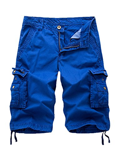 FOURSTEEDS Women's Cotton Loose Fit Zipper Multi-Pockets Twill Bermuda Drawstring Women Cargo Shorts Blue US 18