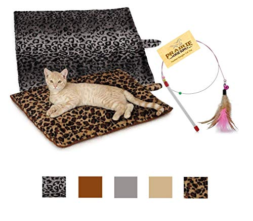 Prairie Horse Supply Quality Thermal Cat Mat and Free Cat Toy (Grey Leopard) (1 Mat) Cozy Self Heating Warming Kitty Kitten Puppy Small Dog Bed, Reversible Washable Pad, No Electricity