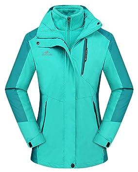 QitunC 3 en 1 Al Aire Libre Chaqueta Mujer Hombre Impermeable Abrigo con Capucha Esquí Montaña Windbreaker: Amazon.es: Deportes y aire libre