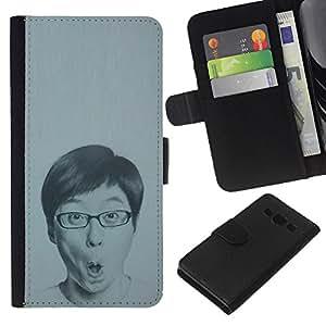 Retrato del hombre Dibujo Gafas- la tarjeta de Crédito Slots PU Funda de cuero Monedero caso cubierta de piel Para Samsung Galaxy A3