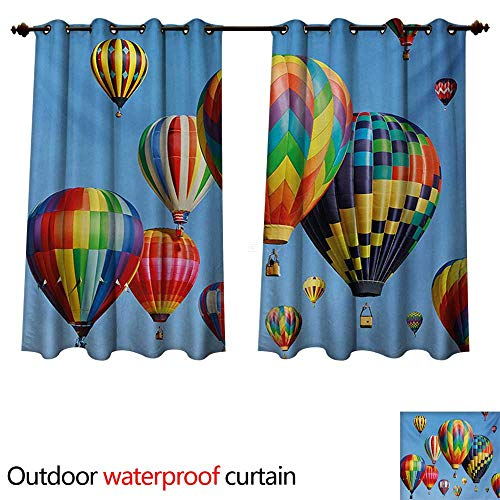 WilliamsDecor Colorful 0utdoor Curtains for Patio Waterproof Nostalgic Hot Air Balloons in Sky Flying Journey Fun Adventure Traditional Hobby Theme W96 x L72(245cm x 183cm) ()