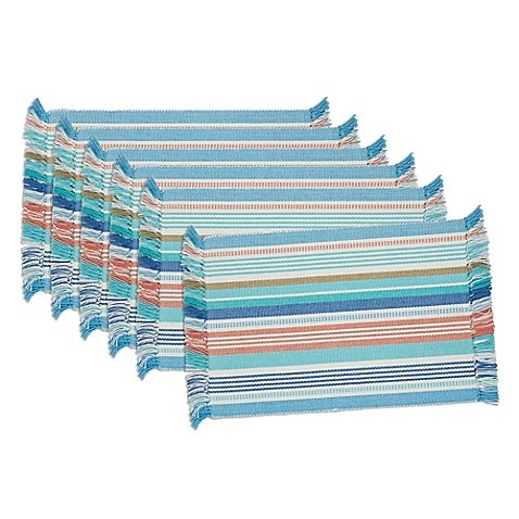 Design Imports Seashore Stripe Placemats (Set of 6) by Design Imports