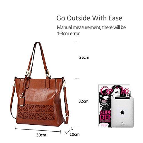 Wine NICOLE Bag Leather Handbags amp;DORIS Designed Ladies Brown Fashion Hollow Shoulder PU for red New 2018 Purse frwpqOf6