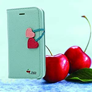 Wholesale ! 2014 New Cherry Heart Case for iPhone 5 5S 4 4S 5C leather Case Wallet Stand Magnetic Cover 6 Colors RCD00292 --- Color:White for iphone 5C