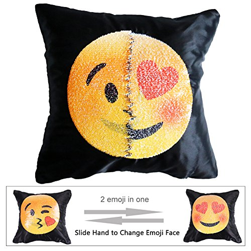 "Emoji Sequin Pillow Case Face Changeable Mermaid Throw Cover Decorative Square Reversible Cushion Pillowcase 16"" x 16""(Insert Not Included),Kissing and Lust"