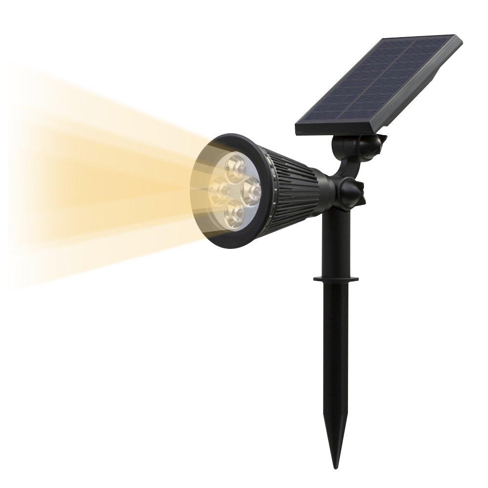 T-SUN ソーラーライト 4LED ガーデンライト スポットライト 省エネ 屋外用充電式 暗くなると自動点灯 3500K-4000K 薄いイエロー 暖白 FCC認証取得 玄関先 芝生 階段 庭など対応 LED照明 B01EMZLTNU 28982