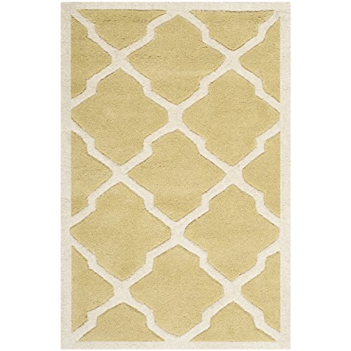 (Safavieh Chatham Collection CHT735L Handmade Light Gold and Ivory Premium Wool Area Rug (2' x 3'))