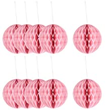 uxcell® Festival Chinese Style DIY Wall Hanging Ornament Honeycomb Ball 6 Inch Dia 10pcs Coral Pink