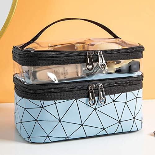 化粧品収納ボックス 家庭用化粧品収納ボックスポータブル化粧品袋化粧品スキンケア口紅マスク棚透明カバー革素材金属ジッパー DWWSP (Color : Blue)