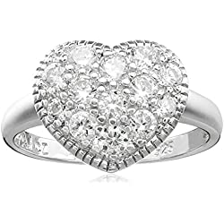 Sterling Silver Cubic Zirconia Heart Ring, Size 8 Valentine's Day gift