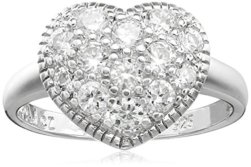 Sterling Silver Cubic Zirconia Heart Ring, Size 9