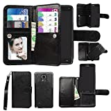 Case for Samsung Case for Galaxy Note 4, xhorizon Premium Leather Folio Case [Wallet Function] [Magnetic Detachable] Fashion Wristlet Lanyard Hand Strap Purse Soft Flip Book Style Multiple Card Slots Cash Compartment Pocket with Magnetic Closure Case Cover Skin ZA5 for Samsung Galaxy Note 4 (N9100) - Black