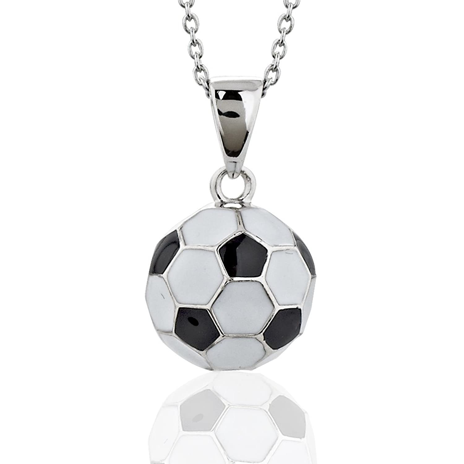 necklace silver amazon soccer pendant dp black ball football white sterling inches jewelry com