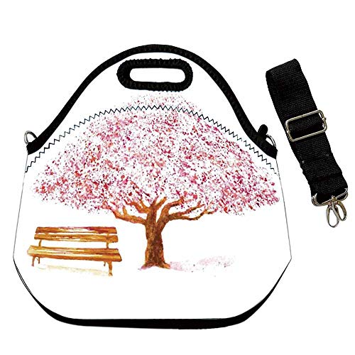 Nature Decor Large Capacity Neoprene Lunch Bag,Watercolor Blooming Cherry Tree in the Park with Wooden Bench Floral Art Print for Adults Men Women Nurses,With Shoulder Straps(12.6''L x 6.3''W x 12.6'