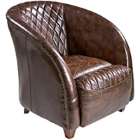 Best Selling Rahim Brown Tufted Leather Club Chair