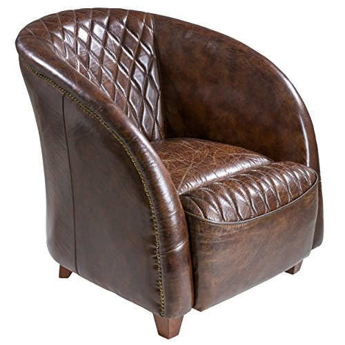 (Best Selling Rahim Brown Tufted Leather Club Chair)