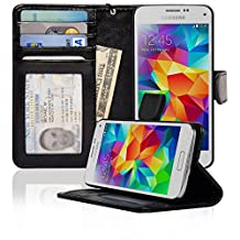 Samsung Galaxy S5 Mini Folio PU Leather Wallet Case with Money Pocket - Navor (Black)