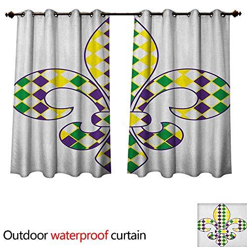 Mardi Gras 0utdoor Curtains for Patio Waterproof Ancient Fleur De Lis with Traditional Festival Pattern Venetian Vintage W72 x L63(183cm x 160cm)