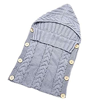 Baby Blankets Swaddle Wrap Wood Button Knitting Sleeping Bag Envelope - Gray