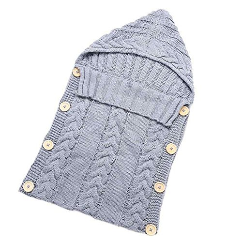 Amazon.com: Baby Blankets Swaddle Wrap Wood Button Knitting Sleeping Bag Envelope - Gray: Baby