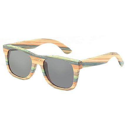 SunglassesMAN Yxsd Gafas de Sol de Pesca de Madera rayadas Retro polarizadas de los Hombres de