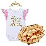 IWEMEK Newborn Baby Infant Toddler Girls It's My 1st Birthday Cake Smash Shiny Printed Sequin Tutu Princess Romper Ruffle Bloomers with Crown Headband Accessories 3pcs Outfit Set Photo Shoot