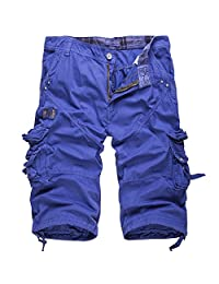 Men's Casual Solid Multi Pockets Cargo Shorts Denim Pants Relaxed Fit(no belt)