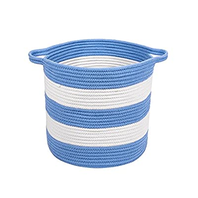 "M2 Home Accessories Cotton Rope Storage Basket with Handles - Woven Baskets for Kids' Toys - Laundry Baskets Nursery Hamper - 13"" x 15"" (White & Baby Blue) - WHAT YOU NEED: Are you looking for something nicer and practical to store toys, laundry and other things you want to throw or you don't use anymore? Have you tried other products but still haven't found the right one? If space saving is a problem we offer the solution. PREMIUM QUALITY MATERIALS: This storage basket with handles is made of 100% cotton woven rope which is durable and resistant. It comes in light colors such as white and light grey. The 2 handles provide a better and easier carrying. You can place it anywhere you like as long as you take advantage of its maximum utility. MULTI USE: From laundry to toys, blankets, clothes, all kind of objects and even as a cat bed, this cotton basket is a great product for storing different things. In addition, it saves a lot of space and it easily matches your furniture. The children can keep their toys in it since the basket works wonderfully as a nursery bin. - living-room-decor, living-room, baskets-storage - 51xP0w37n4L. SS400  -"