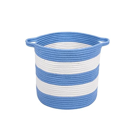 "M2 Home Accessories Cotton Rope Storage Basket with Handles – Woven Baskets for Kids' Toys – Laundry Baskets Nursery Hamper - 13"" x 15"" - WHAT YOU NEED: Are you looking for something nicer and practical to store toys, laundry and other things you want to throw or you don't use anymore? Have you tried other products but still haven't found the right one? If space saving is a problem we offer the solution. PREMIUM QUALITY MATERIALS: This storage basket with handles is made of 100% cotton woven rope which is durable and resistant. It comes in light colors such as white and light grey. The 2 handles provide a better and easier carrying. You can place it anywhere you like as long as you take advantage of its maximum utility. MULTI USE: From laundry to toys, blankets, clothes, all kind of objects and even as a cat bed, this cotton basket is a great product for storing different things. In addition, it saves a lot of space and it easily matches your furniture. The children can keep their toys in it since the basket works wonderfully as a nursery bin. - living-room-decor, living-room, baskets-storage - 51xP0w37n4L. SS570  -"