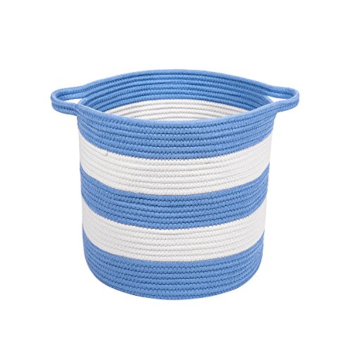 "51xP0w37n4L - M2 Home Accessories Cotton Rope Storage Basket with Handles, Woven Baskets for Organization, Kid's Toys Organizing, Baby Toy Storage, Nursery Hamper, Laundry, Storage Bins, 15"" x 13"""