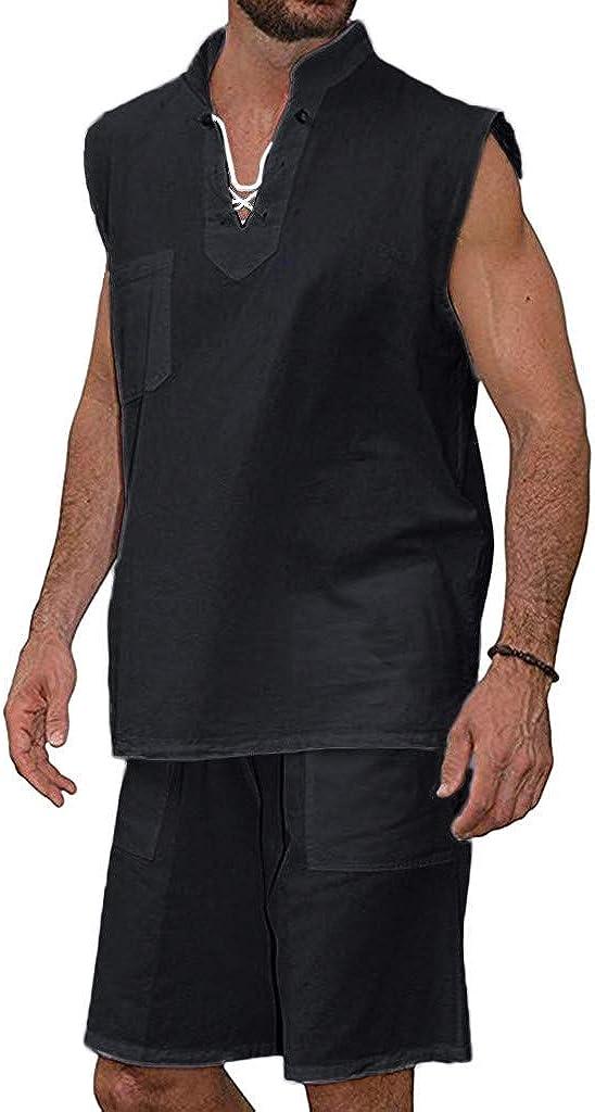 Haut WINJIN Lot de 2 Ensemble Short Homme Chemise pour Homme Short en Lin Ete Shorts de Plage Homme Chemises Casual Homme Maillot Short Homme Blouse Tee Shirt Beach Shorts Pantalon Homme Court