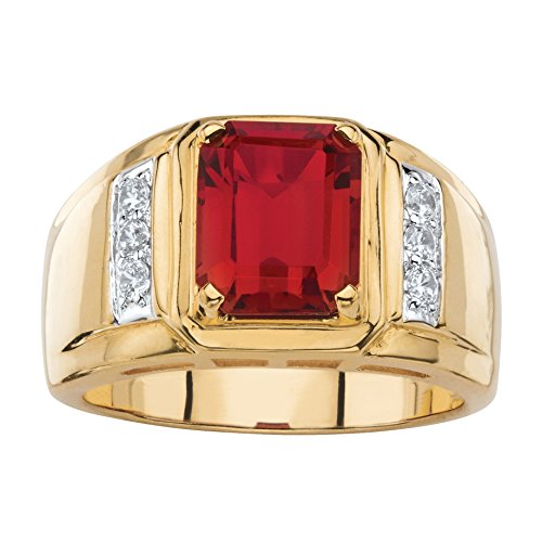 Palm Beach Jewelry Men's Genuine Red Garnet and Diamond 18k Gold-Plated Classic Ring (.21 cttw) Size 10 ()