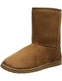 Womens 9 Inch Faux Shearling Microfiber Vegan Winter Boots