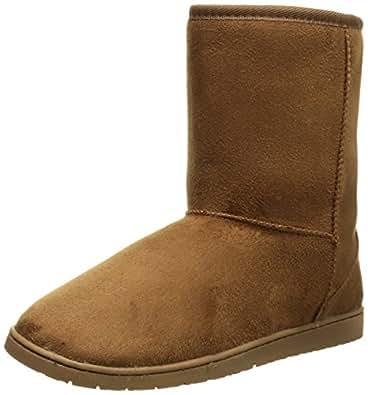 DAWGS Womens 9 Inch Faux Shearling Microfiber Vegan Boots (Chestnut, Size 5)