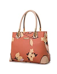 Womens Vintage Shoulder Bag All-over Flowers Pu Leather Tote Purse Cross  Body Handbag ( a25e8827c3756