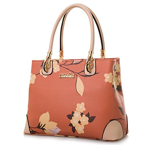 Womens Vintage Shoulder Bag All-over Flowers Pu Leather Tote Purse Cross Body Handbag (Orange)