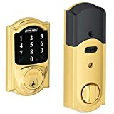 (New Model) Schlage Connect Camelot Touchscreen Deadbolt with Z-wave Technology and Extra Key BE468-2K (Bright Brass)