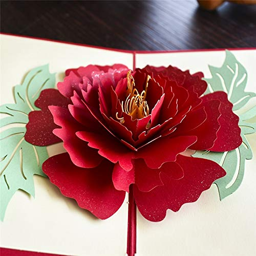 Best Quality - Cards & Invitations - Peony 3D Pop UP Card Birthday Gift with envelope sticker Flower laser cut invitation Greeting Card postcard kirigami mothers day - by saferestar - 1 PCs