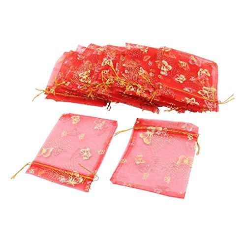 DealMux Organza Borboleta Jias padro embalagem do presente Bolsa Wedding Bag 25 Pcs Red